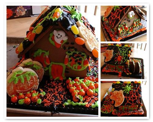 My kids haunted Halloween cookie house