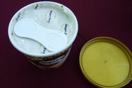 Haagen Dazs cup with spoon inside