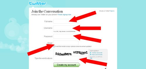 Twitter - Create an Account total