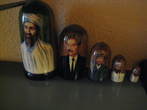 Frans terrorist Matrushka dolls (or thats how he introduced them to me. He also has  set of Dead President nesting dolls, but Ill spare you a photo of those, too)