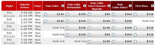 Virgin America Screwy Fares