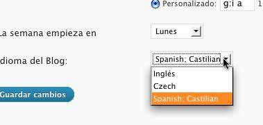Seleccionando idiomas en WordPress MU