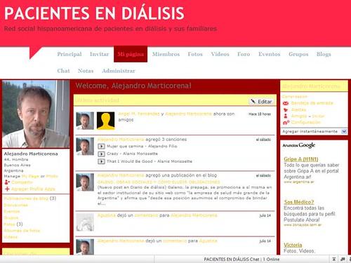 Cómo se ve mi página personal en Pacientes en diálisis