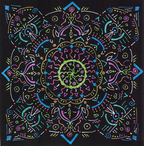 mandala #3, ink on black paper (c) 2009, Lynne Medsker