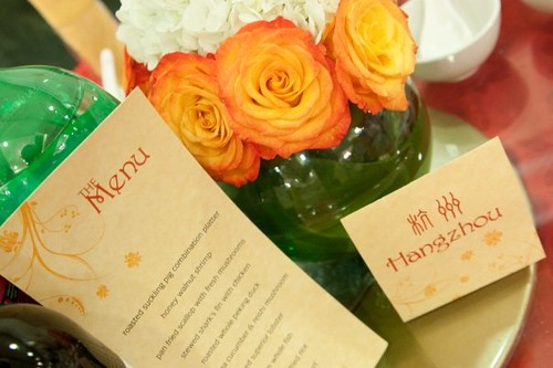 Menu, table name card, and centerpiece