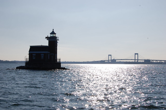 Stepping Stones Lighthouse and Throgs Neck Bridge