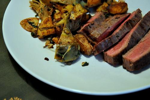 Seared Flank Steak with Baby Artichoke and Potato Hash