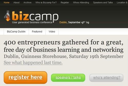 bizcamp ireland website screenshot