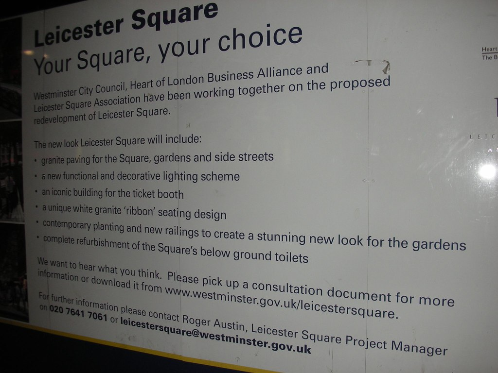 Leicester Square Notice of Change