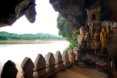 The Lower Pak Ou Cave. I dont understand the point of this cave. The limestone cave is dried up, and all the buddhist sculptures are moved to the cave, instead of being carved within the cave.