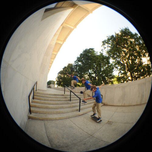 Skateboarder on Justice Building walkway.  Photo by Chuck Miller.
