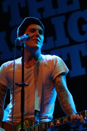 Gaslight Anthem's tattooed lead singer Brian Fallon got fans at the Fillmore dancing  and singing with a high energy performance and catchy punk tunes infused with rockabilly and blues.  Photo by Heather Spellacy/Foghorn