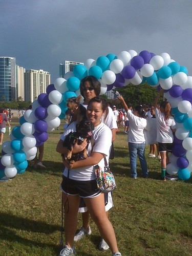 Aja and Buddy after crossing the finish line.