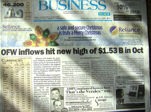 'OFW INFLOWS HIT NEW HIGH""