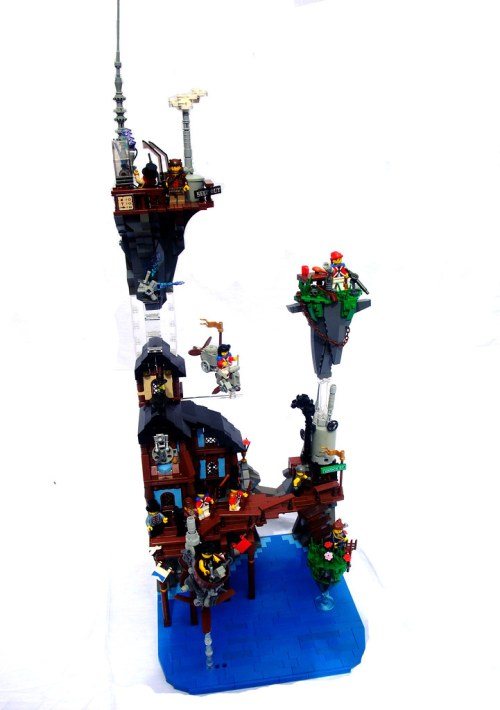 LEGO steampunk city on floating rocks