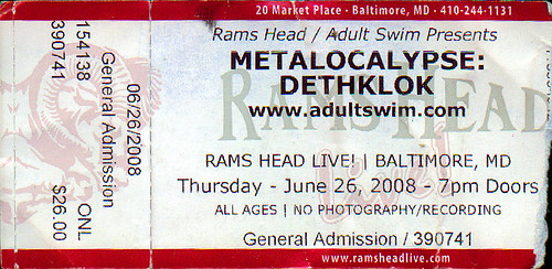 20080626 - Dethklok ticket stub