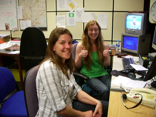 The ever-glamorous Diana OCarroll and Naked Scientists intern Laura Soul