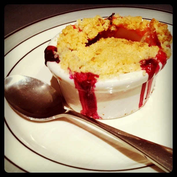 Rhubarb and berry crumble a success!