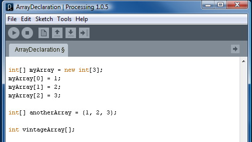Valid Processing Array Declarations