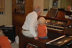 Great Grandpa and Beau at the Organ