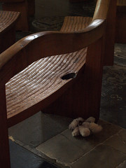 A discarded teddy bear in the Childrens Chapel