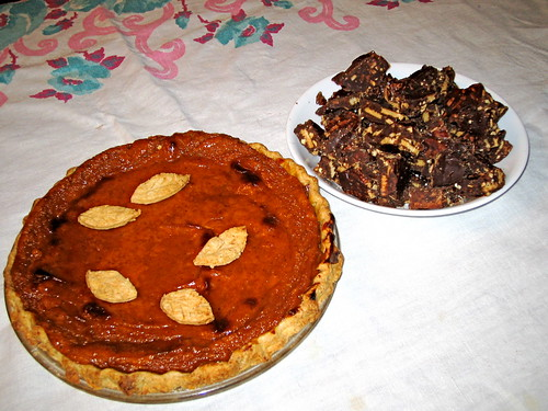 sweet potato pie, chocolate almond brittle