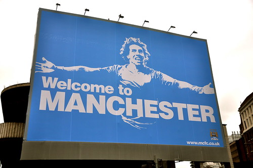 "manchester city's provocative ""welcome to manchester"" billboard"