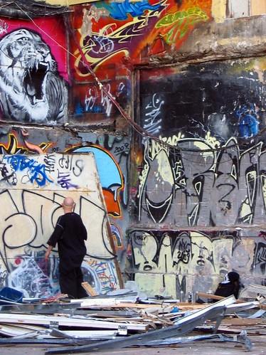 Graffiti artist working at 5Pointz.