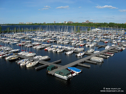 Aerial view of sailboats at Nepean Sailing Club at Dick Bell Park in Ottawa, Ontario, Canada.