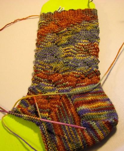Crazy Monkey Sock WIP
