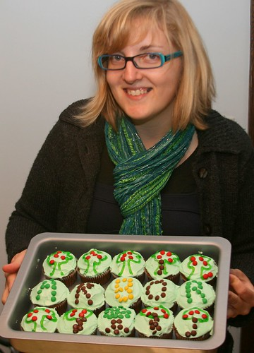 Me in turquoise and green with Arbor Day cupcakes