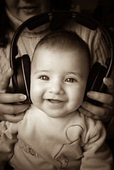 Happy listening to music