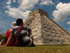 Michelle and I relaxing in Chichen Itza