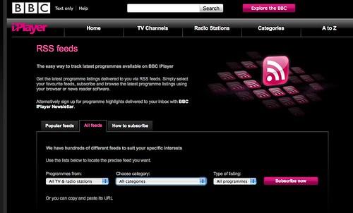 BBC iPlayer feeds - http://www.bbc.co.uk/iplayer/feeds/