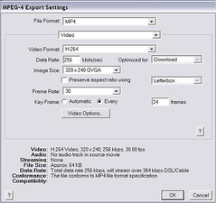 .mov to .mp4 conversion settings