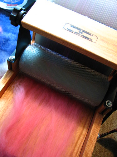 First Batt Layer going onto Drum Carder