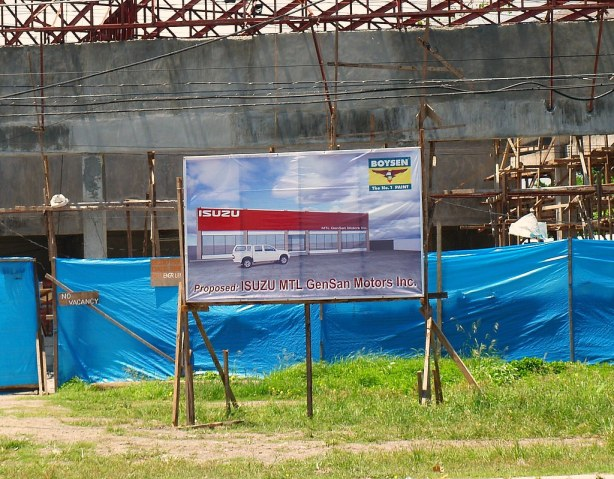 The Signboard infront of the ISUZU GenSan construction.