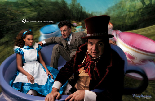 Beyonce Knowles, Lyle Lovett and Oliver Platt as Alice in Wonderland, the hare and the Mad Hatter