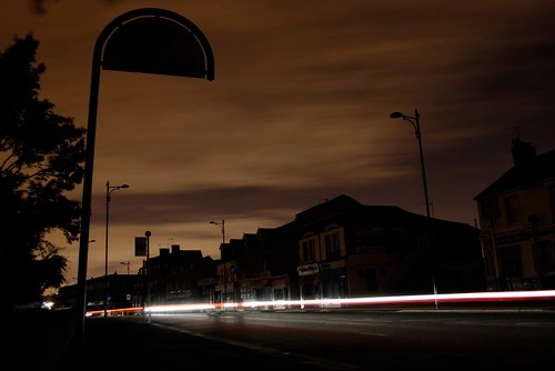 Welling town centre in the dark
