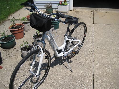 Trek bike with bell bag