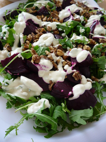 Marinated Beetroot with rocket , thyme, toasted walnuts in a creamy horseradish dressing by you.