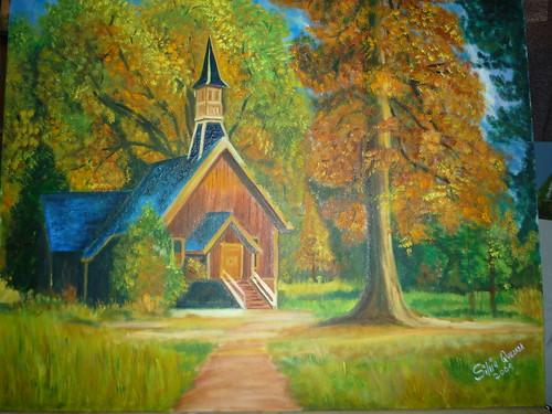 Casa y arbol de otoño