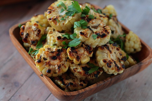 Grilled Basil Garlic Corn Coins