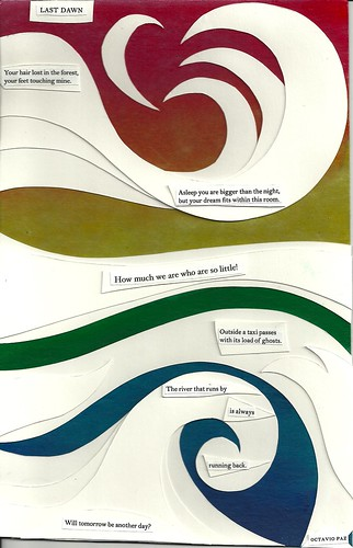 A collage of a poem by Octavio Paz