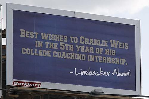 Charlie Weis billboard 5th Year of Coaching Internship