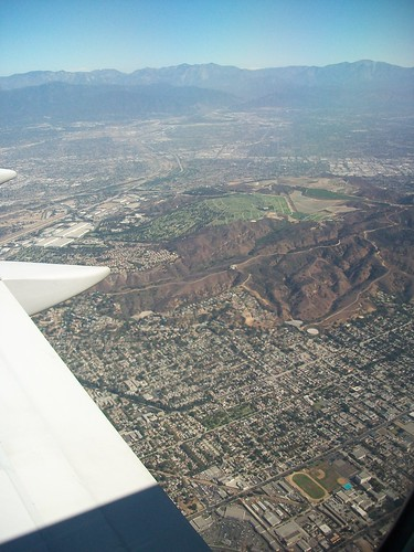 in-flight above Los Angeles
