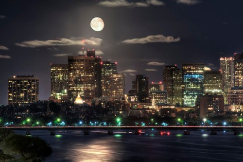 Moon over Boston