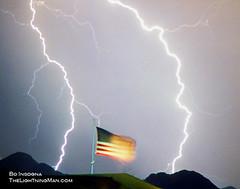 Patriotic Storm - American Flag  - Lightning S...