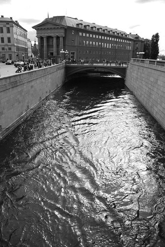Water outside the Swedish parliament building