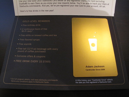 The Starbucks Gold Level Rewards Card A Review Adams Blog